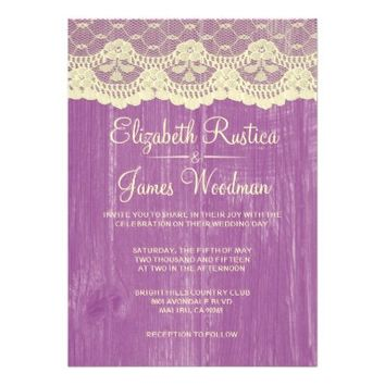 Purple Gold Rustic Lace Wood Wedding Invitations