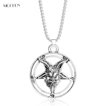 MQCHUN Inverted Pentagram Goat Pan God Skull Head HOLLOW Pendant necklace Punk Satanism Occult vintage star Jewelry Men Gift