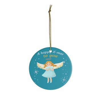 Ceramic Ornaments For Children - Happy X-Mas To You Angle Ornament Holiday Gift For Kids