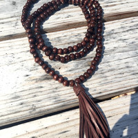 Double wrap leather tassel necklace