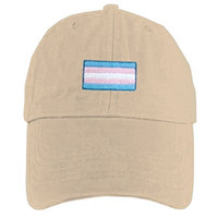 Tan Baseball Cap Transgender Flag - LGBT Trans, Gay or Lesbian Pride Hat. GLBT Pride Clothing & Apparel for men. Great for Gay pride Parade. Celebrate Marriage Equality. (Tan Transgender Flag Hat)