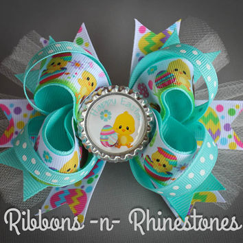 READY TO SHIP!!  Easter Boutique Hair Bow, Easter Bow, Easter Boutique Bow
