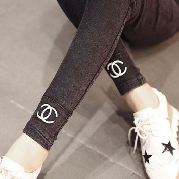 LMFON CHANEL Pregnant Woman Adjustable Breathable Elastic Denim Pants Trousers