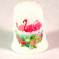 Collectible Thimbles, Handmade Thimbles, Thimble Collection, Flamingo Thimble