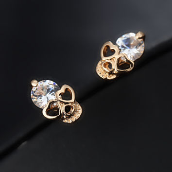 e017 2016 New Fashion Vintage Stud Earrings CZ Diamond 18K Gold Plated Skull Stud Earrings  Valentines Day present Free Shipping
