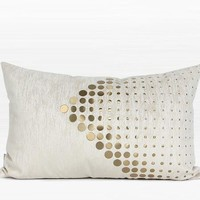 "White with Gold Textured Dots Arrow Pattern Pillow 14""X22"""