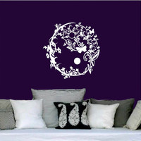 Wall Decal Vinyl Sticker Decals Art Home Decor Murals Yin Yang Symbol Floral Patterns Ornament Geometric Chinese Asian Religious Decal AN574