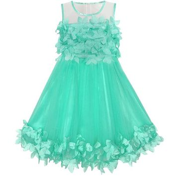 Girls Dress Turquoise Dimensional Flower Birthday Wedding Dress 2018 Summer Princess Party Dresses Children Clothes Size 4-10