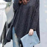Long Sleeve Flounce Pullover Sweater