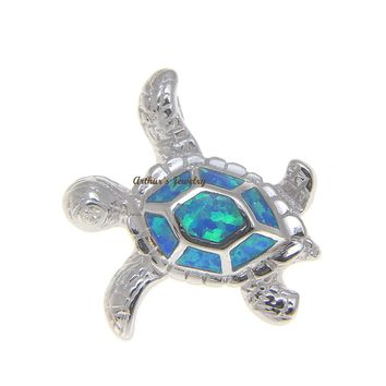 INLAY OPAL HAWAIIAN SEA TURTLE SLIDE PENDANT SOLID 925 STERLING SILVER 23.50MM