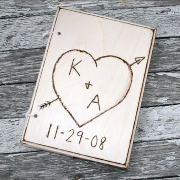 Personalized Rustic Guest Book Vintage Wedding by braggingbags