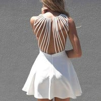 Xenia Boutique White Lattice back detail  from xeniaeboutique