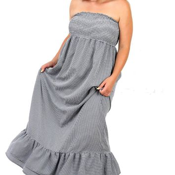 Pretty Plus Size Navy Seersucker Checkered Tube Ruffled Maxi Dress