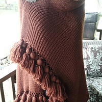Gorgeous Hand Knitted Shawl Wrap in Rich Brown. Hand Knotted Fringe. Silver Leaf Vintage Pin.