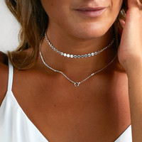 Simple double layer Sequins Chocker necklace for women fashion Statement