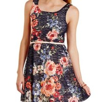 Navy Combo Floral Sheer-Striped Skater Dress by Charlotte Russe