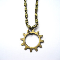 Gear Necklace Cog Necklace Gear Jewelry Cog Jewelry Simple Gear Necklace