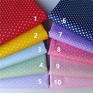 50cm*160cm 10 colors little dot  Cotton Fabric  For Sewing Baby Toy cloth hair craft Material bedding texile