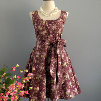 My Lady - Dark Rosy Brown Floral Dress Spring Summer Sundress  Floral Bridesmaid Dresses Country Dress Floral Party Prom Dress XS-XL