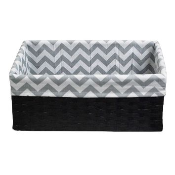 Lukasian House Chevron Lined Storage Basket - Medium (Grey)
