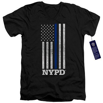 NYPD Slim Fit V-Neck T-Shirt Thin Blue Line American Flag Black Tee