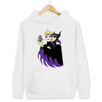 The Evil Queen and Maleficent Selfie Women's & Men's Unisex Casual White Pullover Hoodie