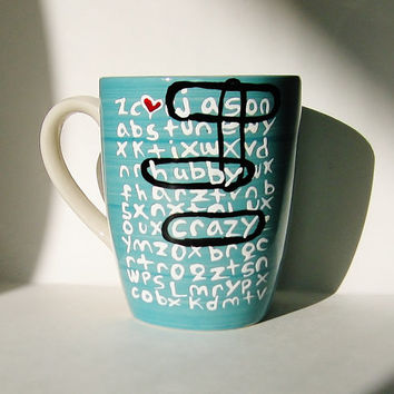 Thoughtful Personalized Word Search Mug for Friendship or Family Blue Ceramic