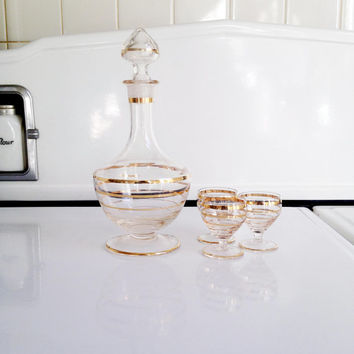 Gold Striped Glass Decanter Set