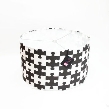 """Modern Lamp Shade  - Free Shipping - 16"""" Drum - Black and White - Puzzzled"""