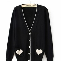 Black V Neck with Sweet Heart Poket Sweater$42.00