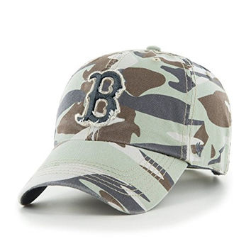 "MLB Boston Red Sox '47 Brand Clean Up ""Tarpoon"" Camo Adjustable Cap / Hat (One Size)"