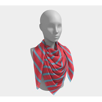 Striped Square Scarf - Light Blue on Darker Coral