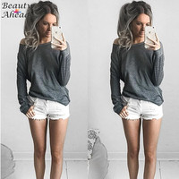 Tops T Shirt Women 2016 Autumn Solid Long Sleeve Off Shoulder T-shirt Female Gray T shirt Women Loose Basic Tee Shirt Femme