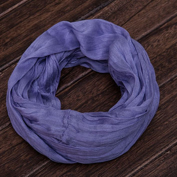 Infinity scarf. Silk scarf cotton scarf. Loop scarf.  Crinkle scarf. Lilac scarf.