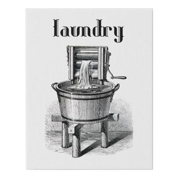 antique Washing machine vintage illustration Faux Canvas Print