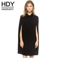 HDY Haoduoyi Solid Cape Dress Turn Down Casual Work Dresses For Women Black OL Bussiness Autumn Robe Vestidos
