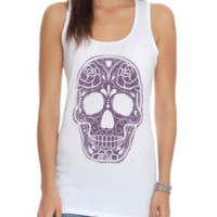 Purple Skull Embroidery Girls Tank Top