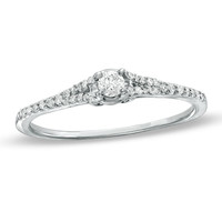 1/5 CT. T.W. Diamond Promise Ring is 10K White Gold
