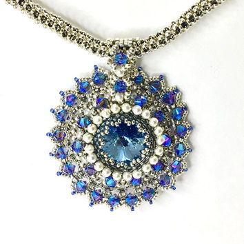 Silver tone chain with Swarovski Crystal aqua beadwork beadwoven glamour - pendant - hand made - seed bead necklace