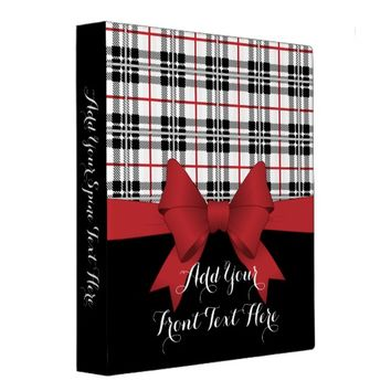 Red Black Tartan Plaid and Ribbon Girly Cute Binder