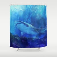 Make Way for the Great White Shark King  Shower Curtain by Distortion Art