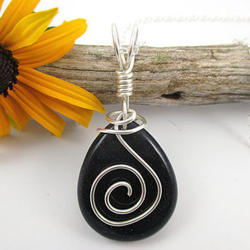 Dark Blue Goldstone Necklace, Sterling Silver, Wire Wrapped, Glass Stone Pendant, Simple Gem Jewelry