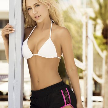 Black and Hot Pink Beach Shorts