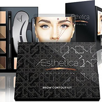 Aesthetica Cosmetics Brow Contour Kit - 15-Piece Contouring Eyebrow Makeup Palette - Includes Powders, Wax, Stencils, Spoolie/Brush Duo, Tweezers & Step-by-Step Instructions - Vegan & Cruelty Free