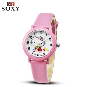 Hello Kitty Watch Children's Watches For Girls Cute Candy Leather Kids Watches Cartoon Baby Watch Gift Clock relogio reloj saat