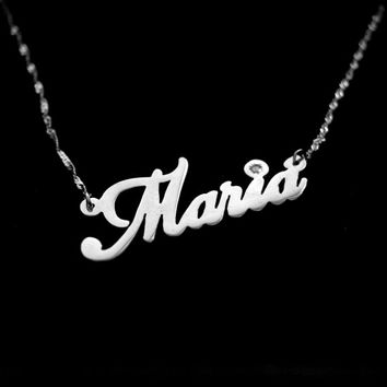Personalized Name Necklace made of 14k WHITE GOLD with DIAMOND Double Thickness - Carrie Style