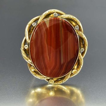 Large Scottish Banded Agate Antique Brooch C. 1880s