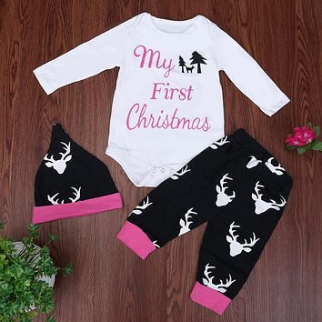 Baby Clothing Set Baby Boys Girls Long Sleeve Tops Jumpsuit + Reindeer Pants + Hat Outfits