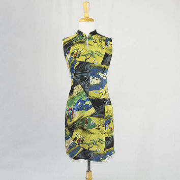 Vintage Jams World Dress Japanese Picnic Novelty Print 90s Mini Cheongsam Dress