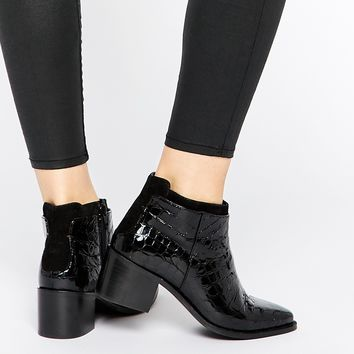 Faith Siata Black Croc Effect Heeled Boots
